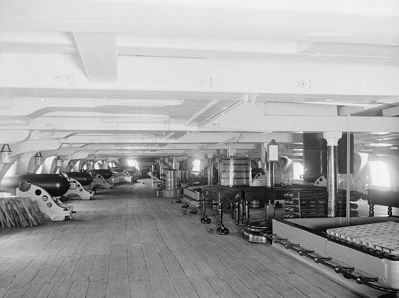 What you are looking at is the gun deck of the American Sloop-of-War, USS Richmond. This photo was taken about the year 1900.